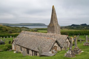 The crooked spire of St Enodoc